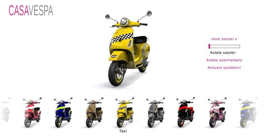 Picture showing 3D rendering visual of a VESPA scooter as part of the branding package, created by STORMYSUNDAY